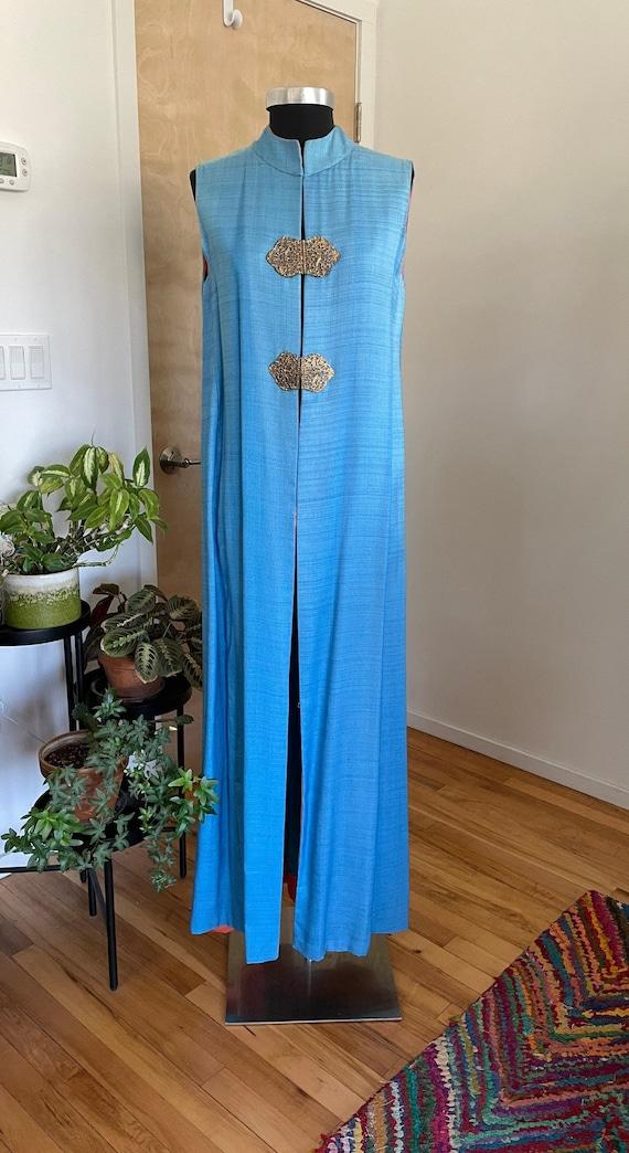 1970s Maxi Duster - Raw Silk Blue Jacket - Mander… - image 1