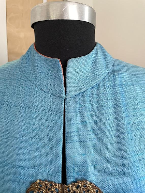 1970s Maxi Duster - Raw Silk Blue Jacket - Mander… - image 8