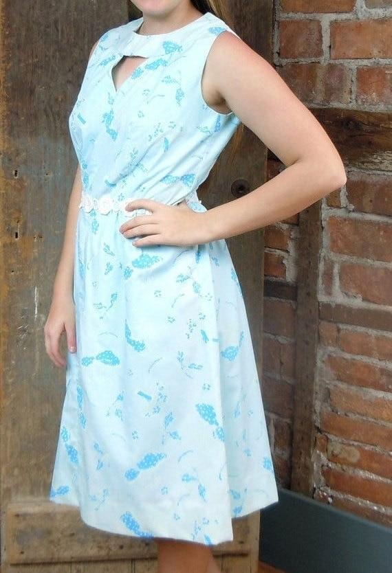 1960s  Dress/ Blue Mushroom Print. Cotton Summer D