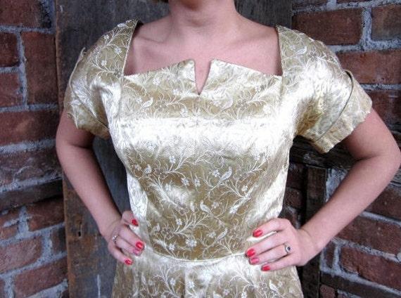 1940s-50s Gold Dress / Bird Floral Gown/ Gold Broc