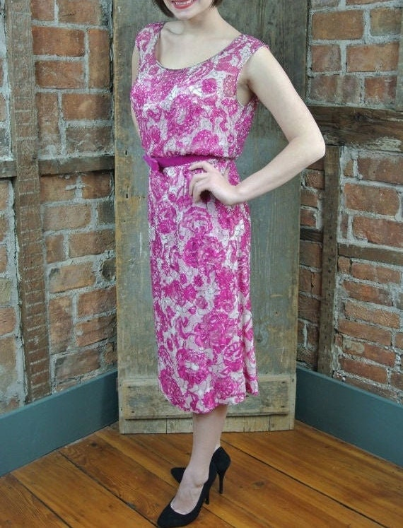 1960s Beaded Dress. Malcom Starr Dress. Pink fuchs
