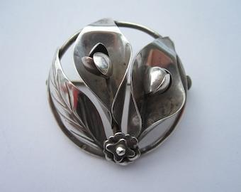 Sterling silver Vintage Handmade Floral Pin Brooch 925