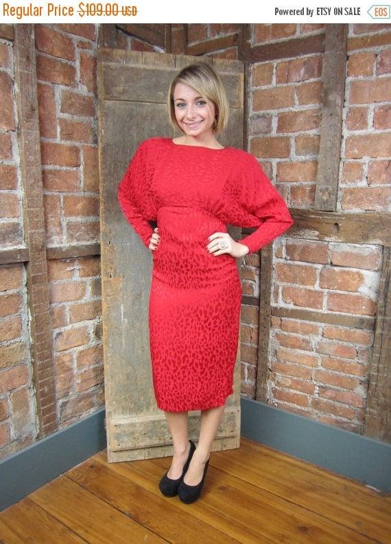 1980s Red Animal print Dress/ Leopard Print Dress/
