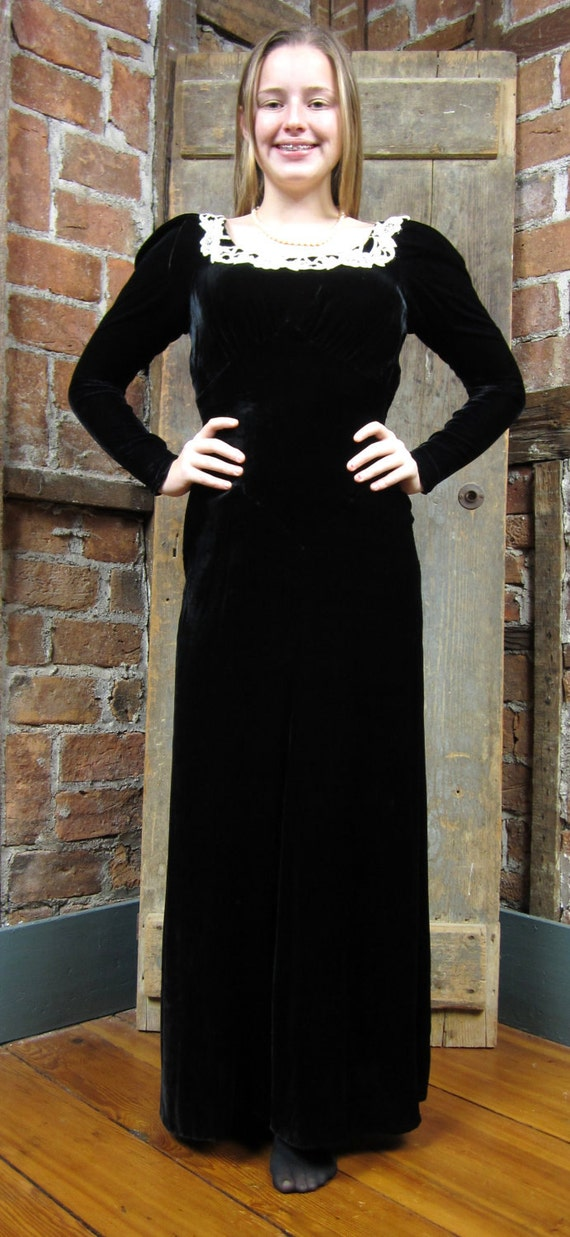 1930s Dress Black Velvet Gown Goth Wedding XS