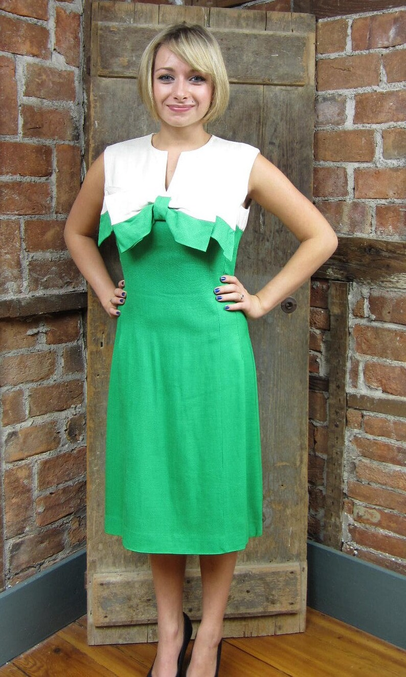 1960s Color block Dress  linen 1960s Dress  Green White   Bow Bodice