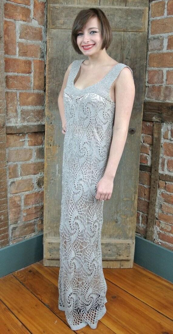 1920s-30s Crochet spider web Dress. Gray Silver La