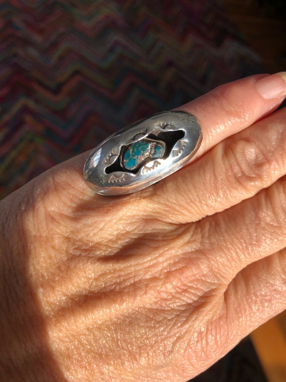 Sterling silver Navajo RIng Turquoise  - Old pawn