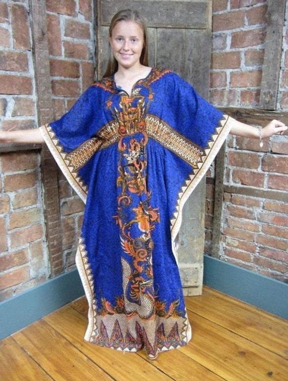 Details about  /Vintage 60s 70s Royal Hawaiian S//M Batik Novelty Linen Peacock Caftan Maxi Dress