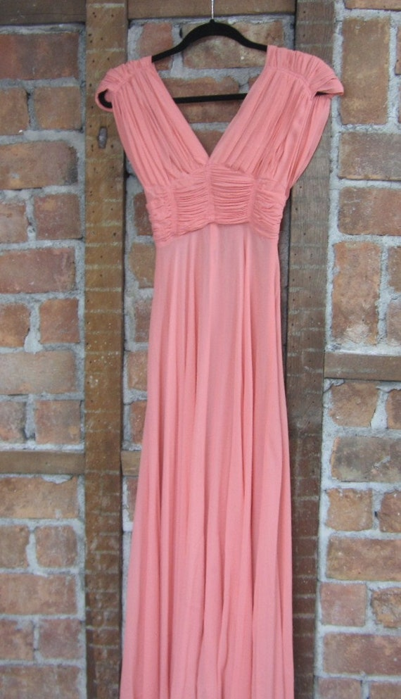 1930s Coral Gown Dress /  Vintage Wedding
