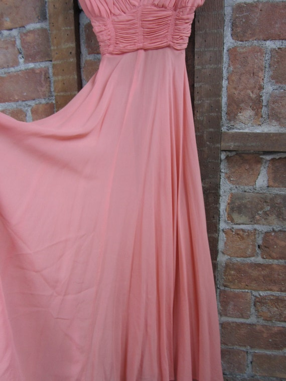 1930s Coral Gown Dress /  Vintage Wedding - image 3