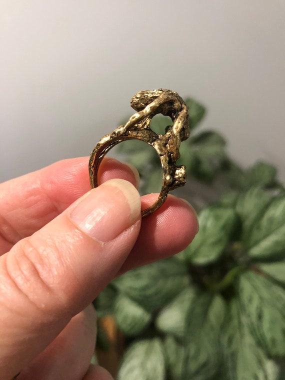 Gold Erotica Brutalist Ring