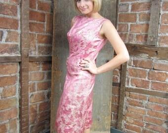 On Sale 1950s Pink Dress/ Silver Lame Dress/ Wiggle Dress w Coverlet