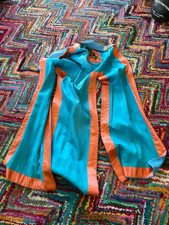 1970s Maxi Duster - Raw Silk Blue Jacket - Mander… - image 9
