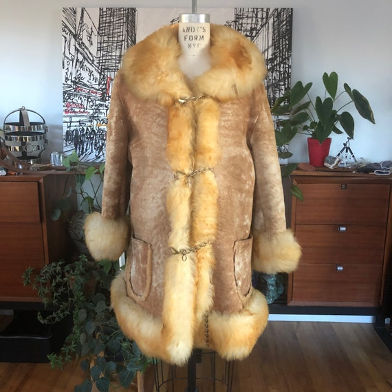 1960s shearling penny lane jacket coat XL
