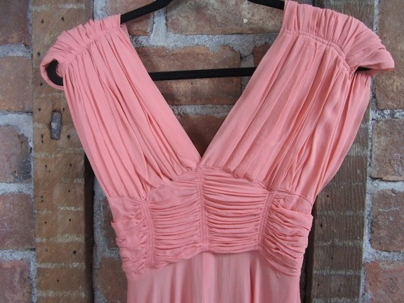 1930s Coral Gown Dress /  Vintage Wedding - image 4
