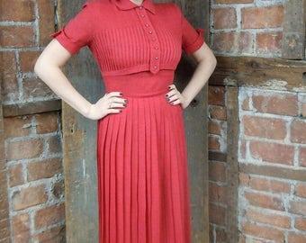 On Sale 1960s Red Dress/ School Girl Dress/ Pleated Knit Dress/ Rhinestone button bodice/ 852