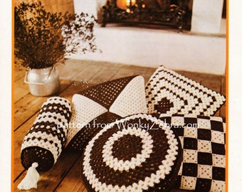 Vintage Crochet retro scatter cushion cushions pillow bolster Pattern PDF 703 from WonkyZebra