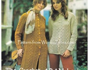 Aran Crochet Cardigan Coat Vintage Pattern PDF Z1046 from WonkyZebra
