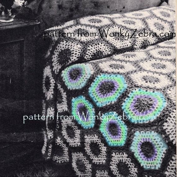 Jahrgang gehäkelt häkeln häkeln Hexagon Decke Muster PDF 803 | Etsy
