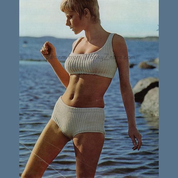 Vintage Knit Pattern 198 Pdf Ribbed Bikini From Wonkyzebra Etsy