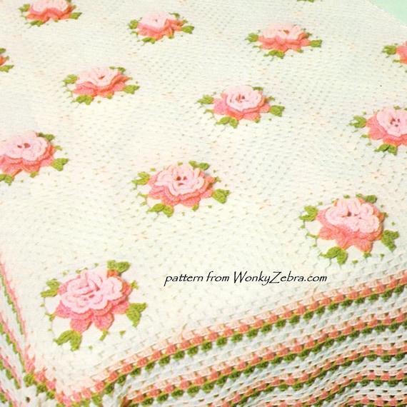Rose Häkeln Tagesdecke Vintage Muster Pdf Und Bonus Blume Etsy
