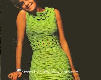 Vintage Crochet Green Goddess Dress Pattern PDF 409 from WonkyZebra