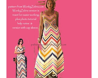Zig Zag festival Dress by Mon Tricot Crochet Pattern PDF 657 from WonkyZebra