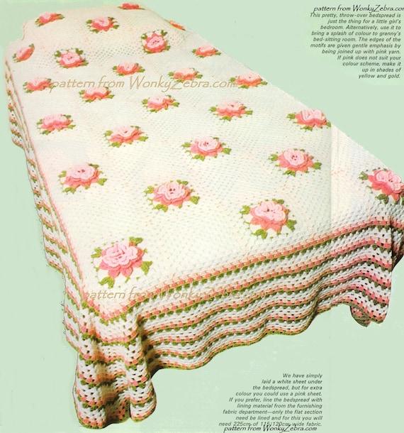 Rose häkeln Tagesdecke Vintage Muster PDF und Bonus Blume