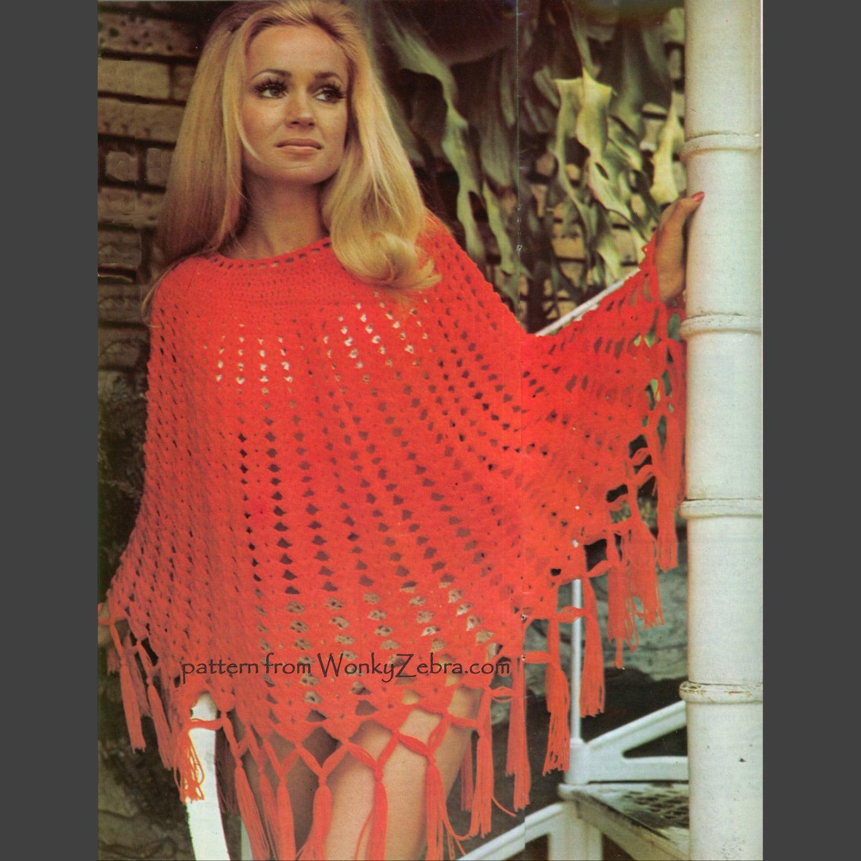 Vintage-look Oma Quadrat häkeln Poncho Muster PDF 629 aus