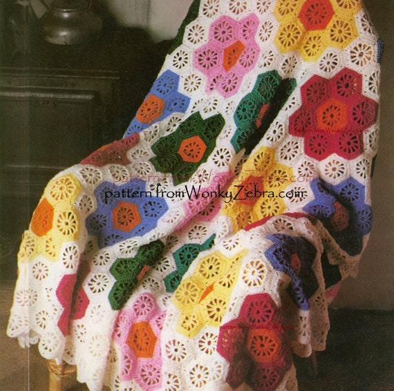 Vintage Crochet Blanket Pattern Grandmothers Garden Hexagon Etsy