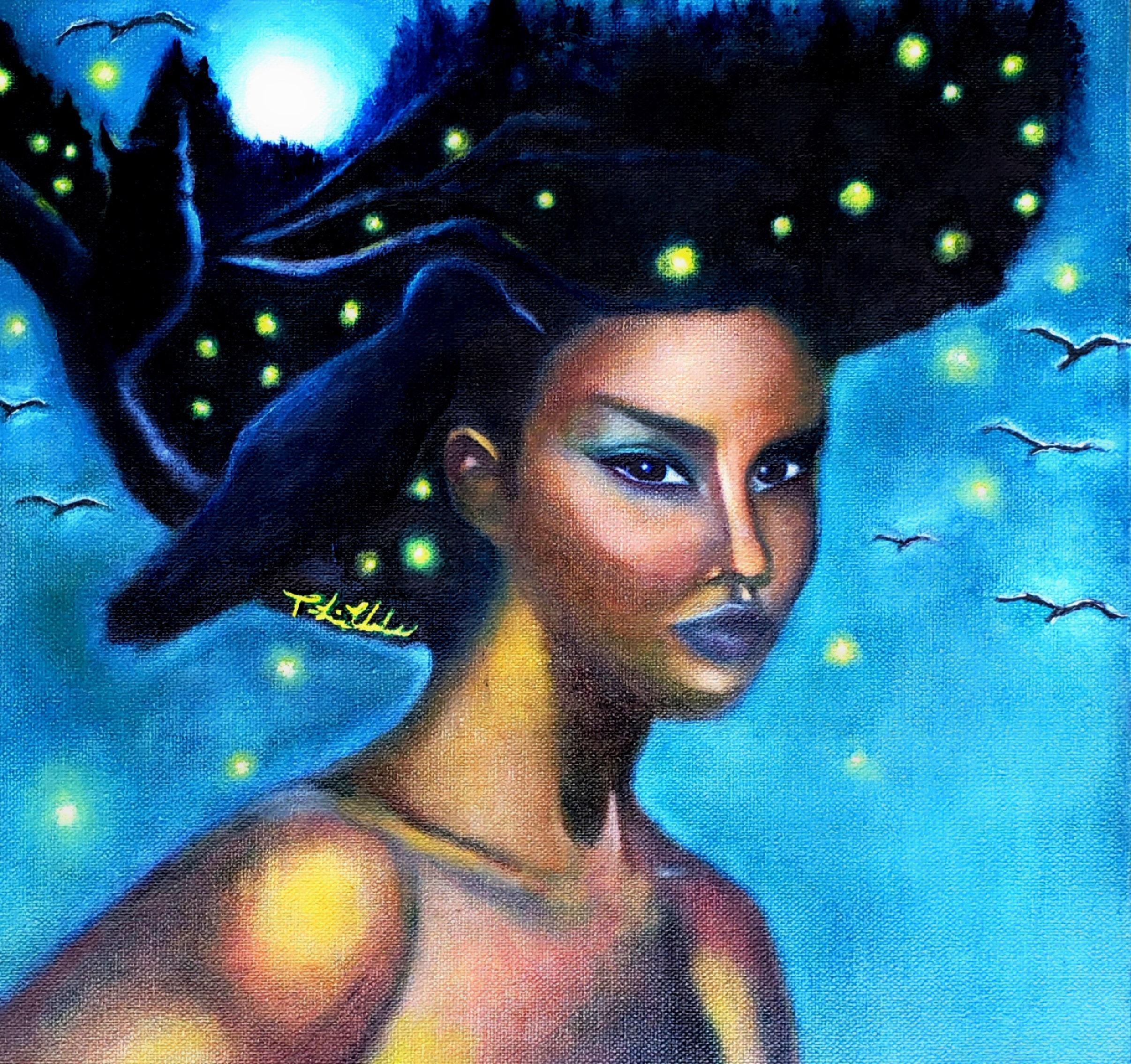 Black Goddess Painting Giclee Altar Art Afro Art Print Etsy