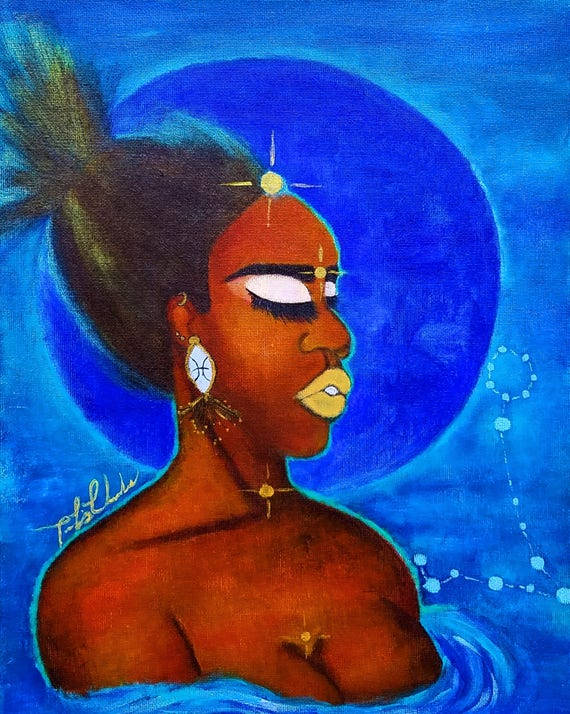 Pisces | Wall Art Print | Black Zodiac | Pisces Woman | Birthday Gift Idea  | Painting | Black Girl Magic | Gifts For Her | Goddess Art