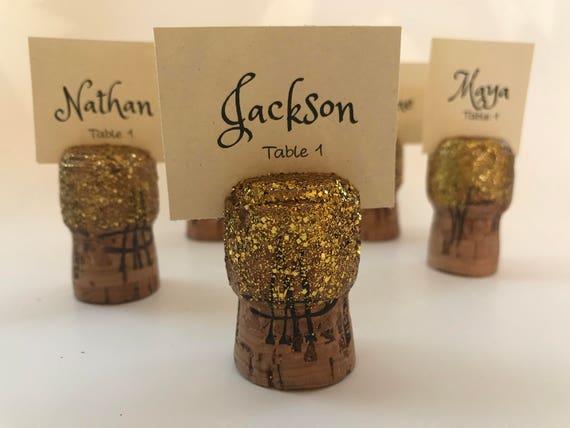 Gold Glitter Champagne Cork Place Card Holders Set Of 10