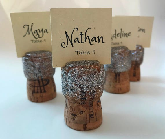 Silver Glitter Champagne Cork Place Card Holders Set Of 10