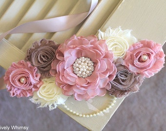 Pink Taupe Maternity Sash, Baby Shower Sash, Maternity Sash, Pink Maternity Sash, Girl Maternity Sash, RTS, Dusty Vintage Pink, Taupe, Ivory