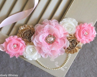 Pink Gold Maternity Sash, Girl Maternity Sash, Pink Maternity Sash, Maternity Belt, Pregnancy Sash, Flower Sash, RTS, Pink Gold Ivory