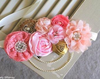 Peach Pink Coral Gold Maternity Sash, Baby Shower Sash, Baby Shower, Girl Maternity Sash, Pink Maternity Sash, Flower Sash, Belly Sash, RTS