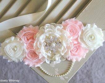 Blush Ivory Maternity Sash, Blush Pink Sash, Girl Maternity Sash, Flower Sash, Belly Sash, Baby Shower Sash, RTS, Blush Pink, Ivory
