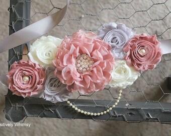 Pink Gray Maternity Sash, Girl Maternity Sash, Pink Maternity Sash, Baby Girl Sash, Dusty Pink, Vintage Pink, Pink Gray Ivory, RTS