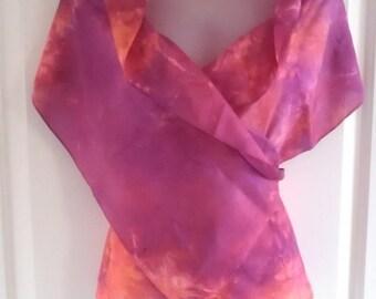 """SALE-Ready to SHIP - Silk Scarf - 14""""x72"""" Hand Dyed in USA - Silk Fashion Scarf by Gypsy de Rose Silk Art Studios"""