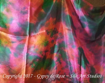 SALE-Ready-To-Ship Hand Dyed in USA - Belly Dance Silk Veil Rectangle 3 yards created by GypsydeRose-Silk Art Studios on Etsy