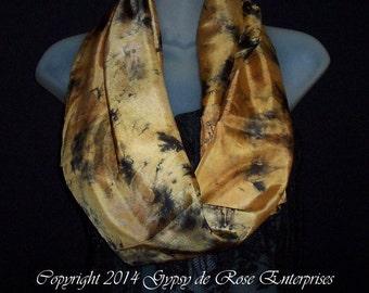 "SALE-Ready to Ship - 14""x72"" Hand Dyed in USA - Silk Fashion Scarf by Gypsy de Rose Silk Art Studios"