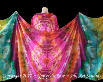 SALE-Ready-To-Ship Hand Dyed - BellyDance Silk Veils SET of TWO (2) Rectangles 3 yards created by GypsydeRose-Silk Art Studios on Etsy
