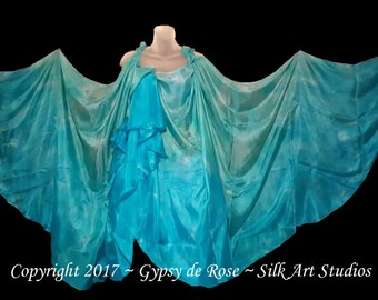 SALE-Ready-To-Ship Hand Dyed - BellyDance Silk Veils SET of TWO (2) Semi-Circle 3 yards created by GypsydeRose-Silk Art Studios on Etsy