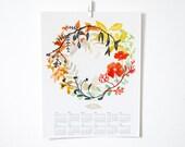 2016 Happiness Wreath Wall Calendar