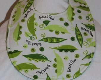 Sweet Pea Flannel / Terry Cloth Bib