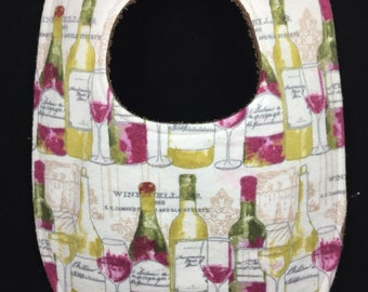 Wine Bottles Flannel / Terry Cloth Bib