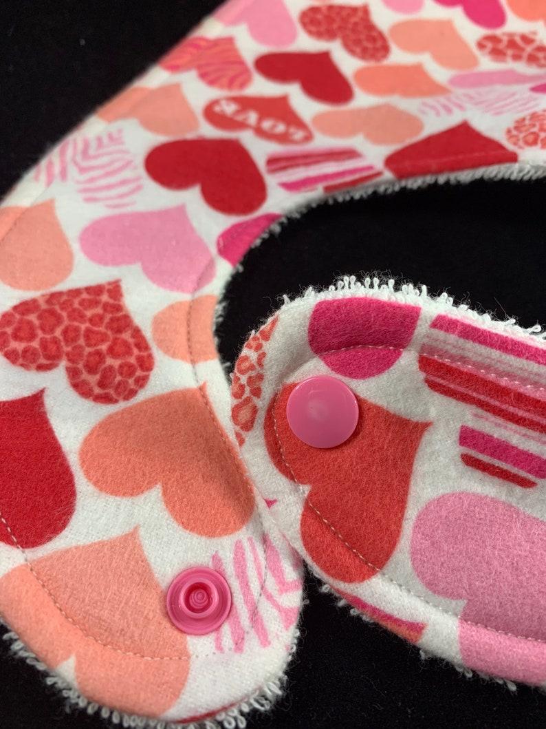 Hearts  Love Flannel  Terry Cloth Bib