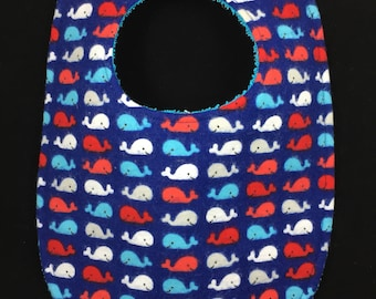 Little Whales Flannel / Terry Cloth Bib
