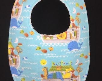 Noah's Ark Flannel / Terry Cloth Bib